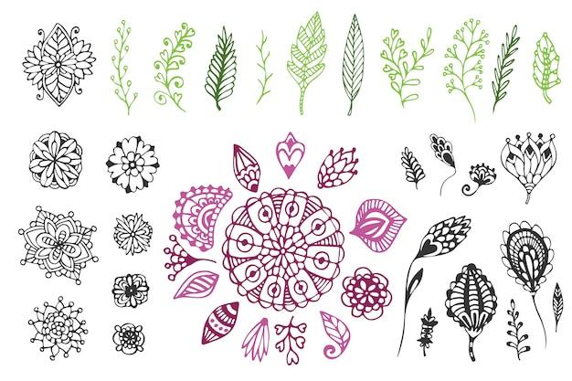 Grande raccolta a mano disegnata a mano. illustrazione vettoriale carina con fiori e foglie di doodle