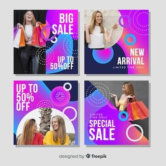 Grande raccolta della posta del instagram di vendita con la foto