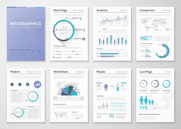 Grande raccolta di brochure e grafica aziendale infografica