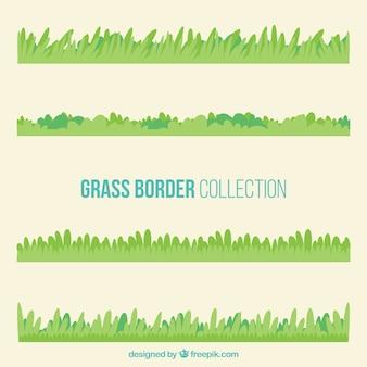 Grande raccolta di confini erba in toni verdi