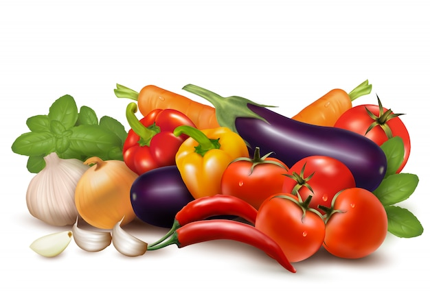 Grande raccolta di diverse verdure fresche ..