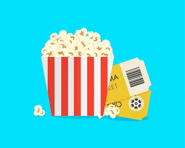 Grande scatola di popcorn con biglietti del cinema