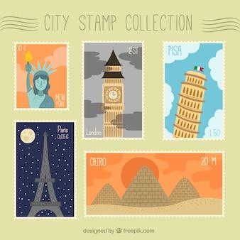 Grande selezione di francobolli della città