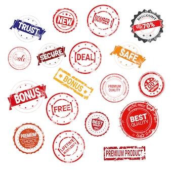 Grande serie di francobolli grunge garanzia di vendita sicura e shopping concetto di vendita collezione di sigilli in gomma