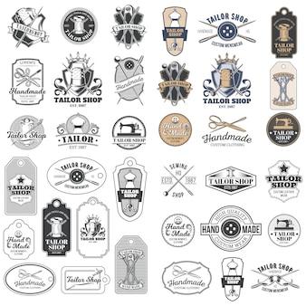 Grande serie di vettore vintage tailor distintivi, adesivi, emblemi, segnaletica