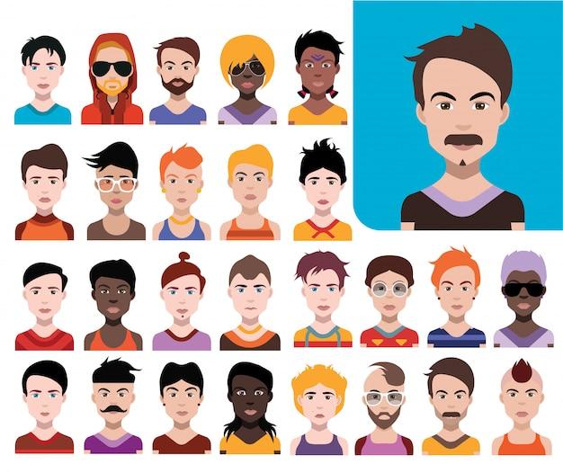 Grande set di avatar di persone in stile piano vector donne, uomini con sfondo di colore