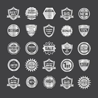Grande set di badge shopping o alta qualità scudi di prodotto emblema collection
