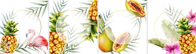 Grande set di biglietti d'invito tropicali con fenicottero