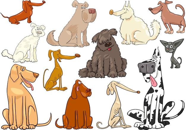 Grande set di cani o cuccioli di cartone animato