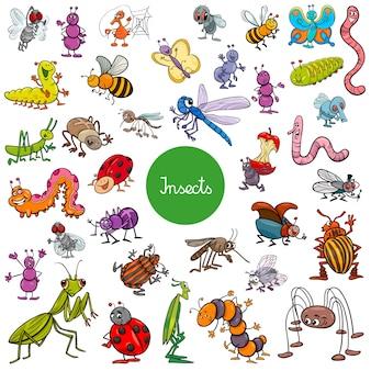 Grande set di caratteri animali cartoon degli insetti
