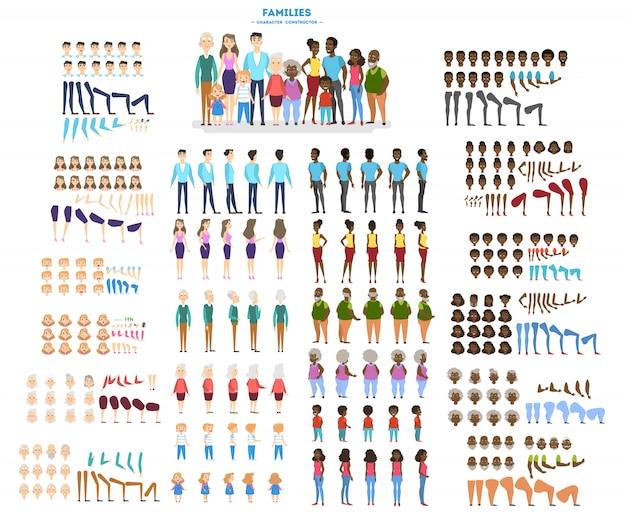 Grande set di caratteri familiari per l'animazione con varie viste