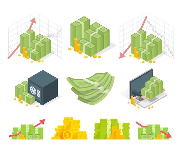 Grande set di composizioni di denaro
