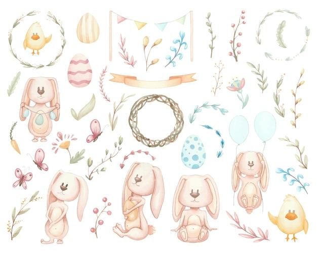 Grande set di conigli ed elementi di pasqua. illustrazioni ad acquerello di fiori, ghirlande e soggetto pasquale