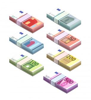 Grande set di diverse banconote in euro in pile in vista isometrica. cinque, dieci, venti, cinquanta, cento, duecento e cinquecento pile di note su bianco