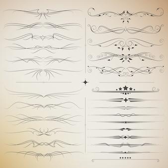 Grande set di elementi calligrafici in filigrana per il design. vettore di stile moderno e vintage