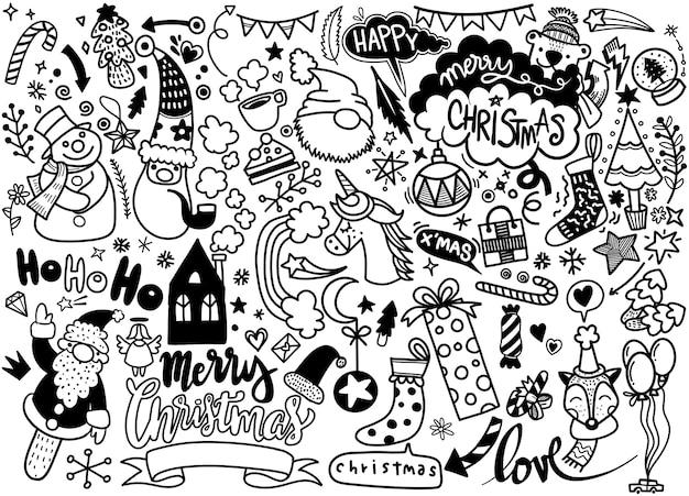 Grande set di elementi di natale in stile doodle
