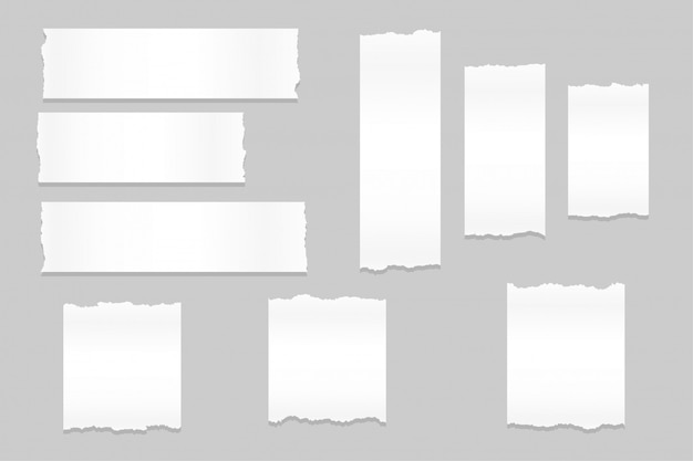 Grande set di fogli di carta strappata