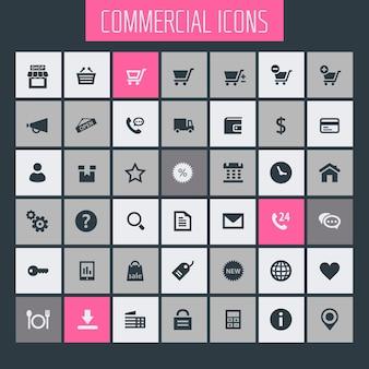 Grande set di icone commerciali, icone piatte alla moda