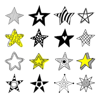 Grande set di icone di stelle di doodle