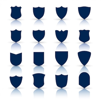 Grande set di icone e simboli scudo
