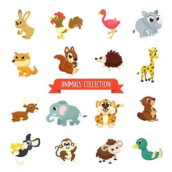 Grande set di illustrazione di simpatici animali in stile cartone animato