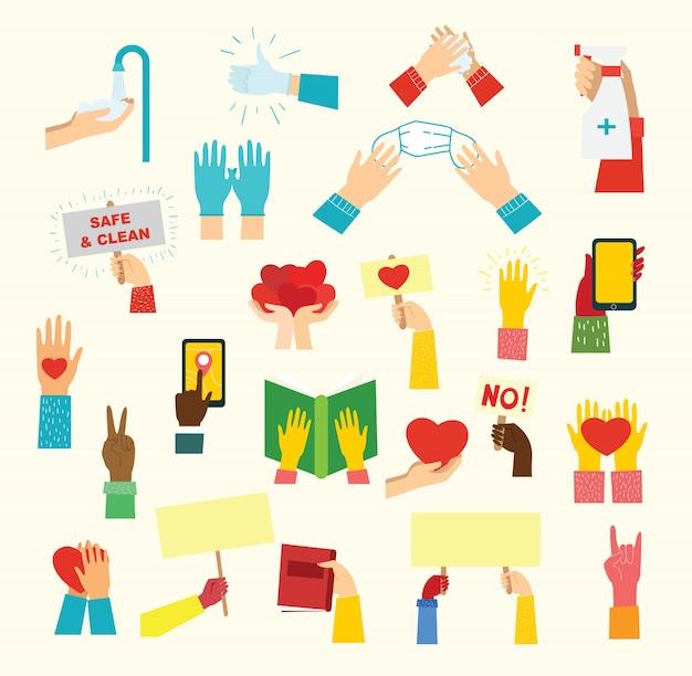Grande set di illustrazioni di mani diverse. forti insieme molte mani in alto. mano con il libro.