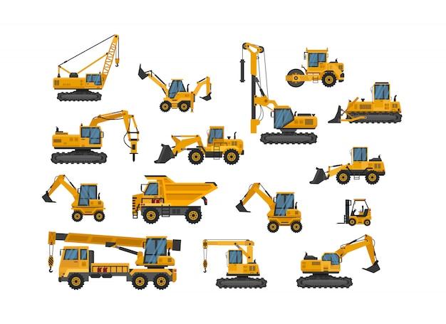 Grande set di lavori di costruzione di icone. macchinario di costruzione macchine speciali per i lavori di costruzione, illustrazione piana dell'icona di progettazione