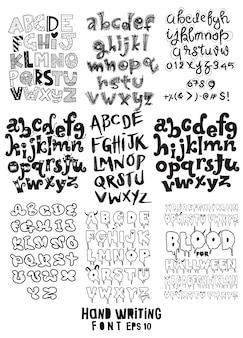 Grande set di lettere scritte a mano sul poster di design