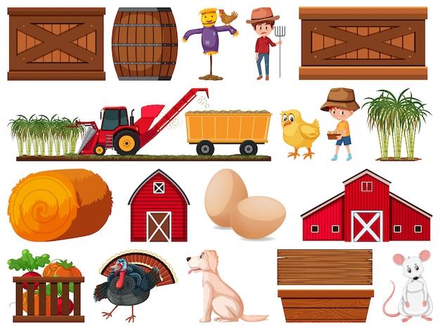 Grande set di oggetti agricoli isolati
