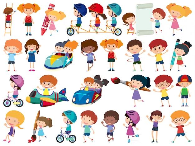 Grande set di oggetti isolati di bambini