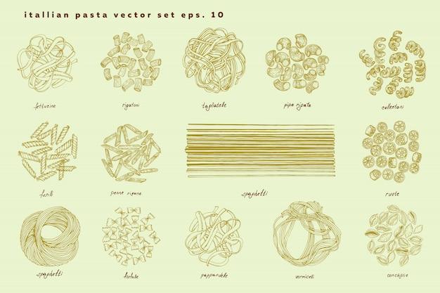 Grande set di pasta italiana. fettuccine, conchiglie, fusilli, cellentani, vermicelli, tagliatelle pipe rigate ruote maccheroni penne farfalle spaghetti