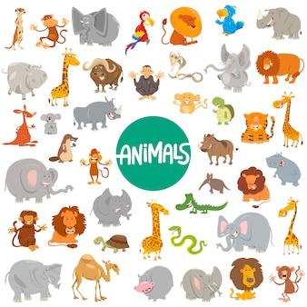 Grande set di personaggi animali dei cartoni animati