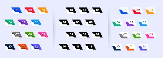 Grande set di punti elenco da uno a dodici