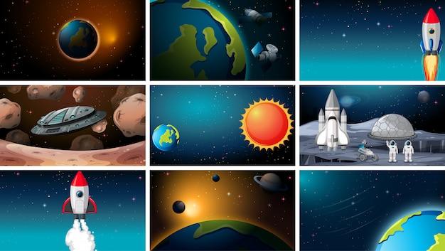 Grande set di scene spaziali o di sfondo o di sfondo