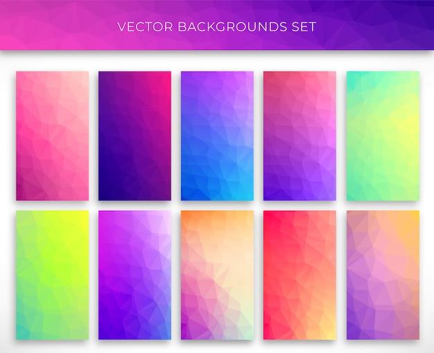 Grande set di sfondi poligonali. design delle copertine poli basso gradiente minimo. illustrazione di poligono basso