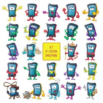Grande set di smartphone simpatici cartoni animati