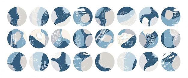 Grande set di varie copertine di evidenziazione. forme astratte, oggetti scarabocchio. modelli disegnati a mano. icone rotonde per storie sui social media.