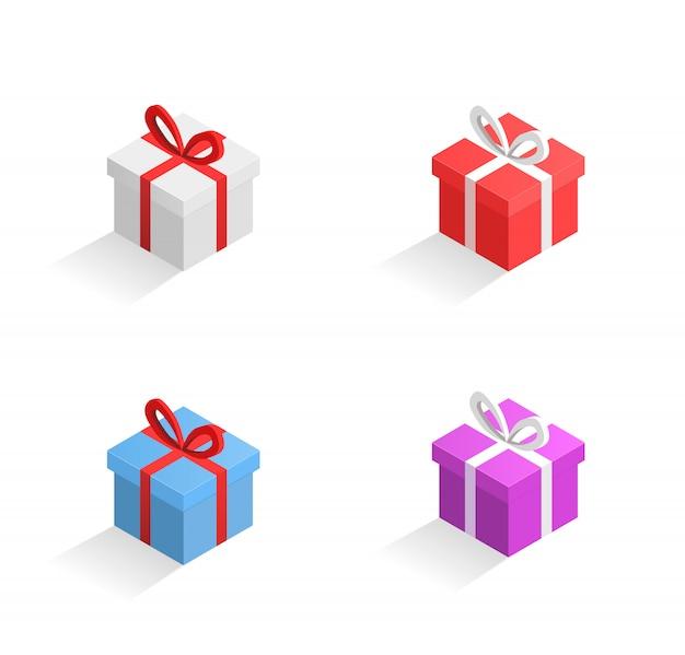Grande set di vettore di scatole regalo isometrico