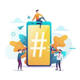 Grande smartphone con segno di hashtag, piccole persone e social network. illustrazione. stile piatto colorato