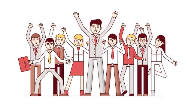 Grande squadra di affari che celebra enorme successo