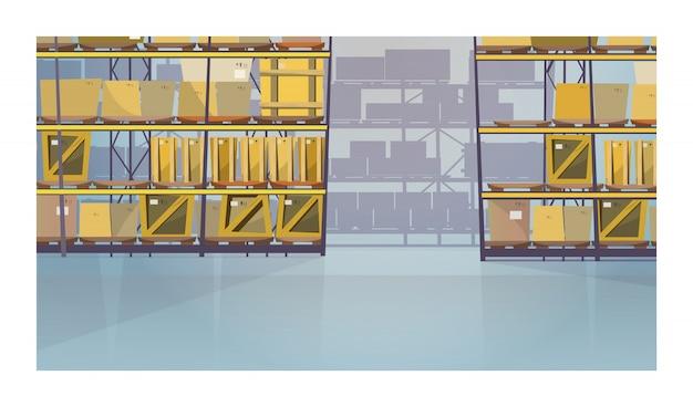 Grande stanza del magazzino con le scatole sull'illustrazione degli scaffali