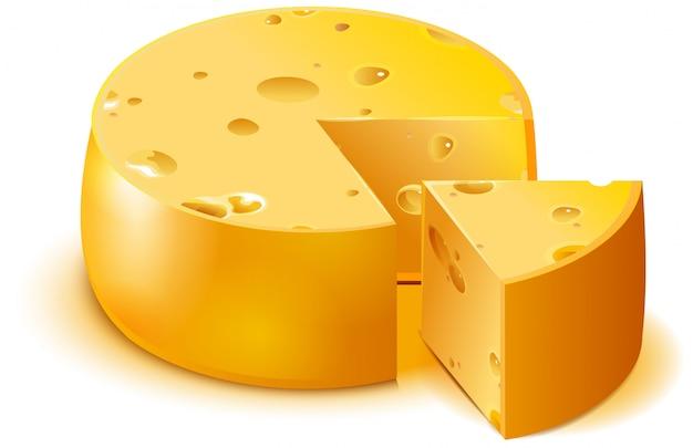 Grande testa del formaggio poroso duro e pezzo affettato isolati su bianco