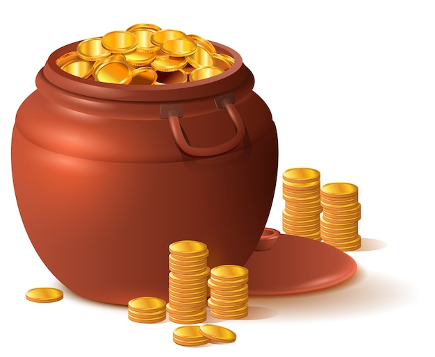 Grande vaso marrone argilla pieno d'oro. pentola in ceramica con coperchio