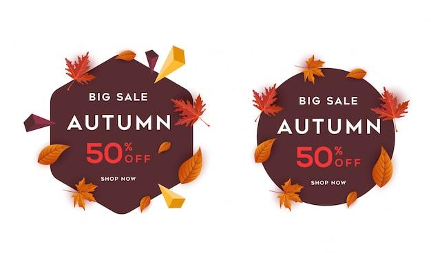 Grande vendita autunno benner con il vettore del fondo della foglia