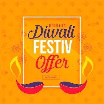 Grande vendita di diwali e offerta di sfondo con diya