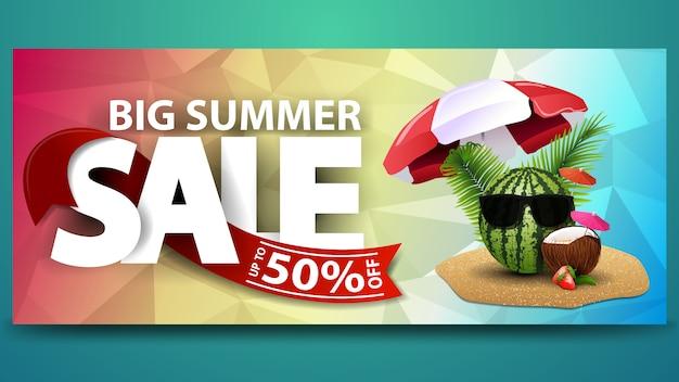 Grande vendita di estate, banner web orizzontale con texture poligonale