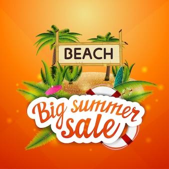 Grande vendita estiva, sconto, layout di banner web cliccabile per la tua creatività