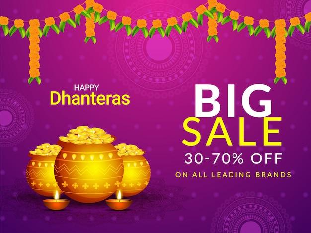 Grande vendita per il festival di dhanteras con offerta di sconto del 30-70%.