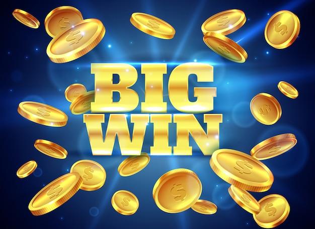 Grande vincita. etichetta premio con monete d'oro volanti, gioco vincente. jackpot del denaro contante del casinò che gioca fondo astratto