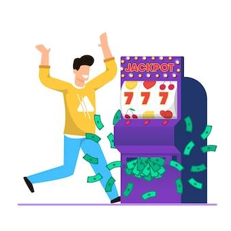 Grande vittoria nel vettore del fumetto dello slot machine del casinò.